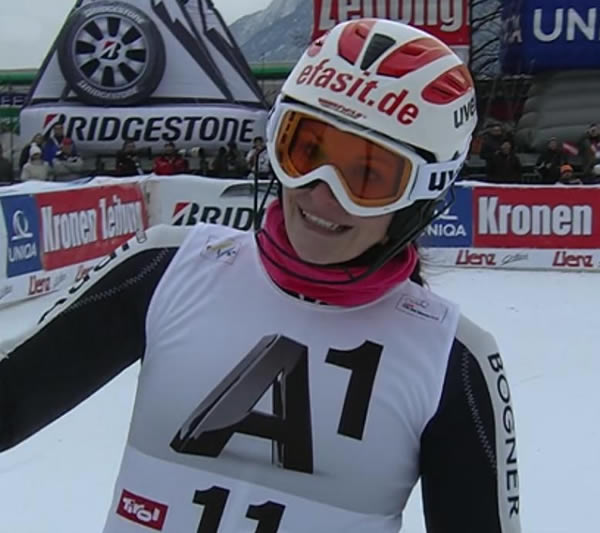 Christina Geiger beim Slalom in Lienz auf Platz vier