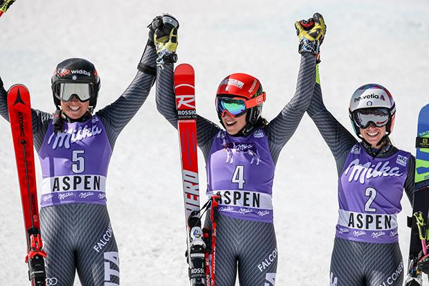 Sofia Goggia, Federica Brignone und Marta Bassino (© Archivo FISI/Shin Tanaka/Pentaphoto)