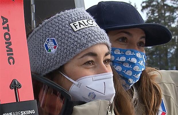 Sofia Goggia und Elena Curtoni standen am Samstag in Crans-Montana gemeinsam auf dem Abfahrtspodest