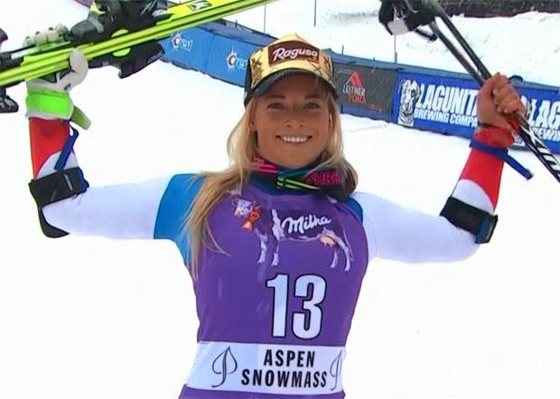 Schweizerin Lara Gut freut sich über Erfolg beim Riesenslalom der Damen von Aspen