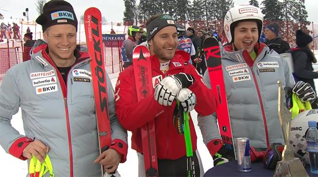 Das Siegerbild der EC-Abfahrt in Kitzbühel: Nils Mani, Daniel Danklmaier und Lars Rösti