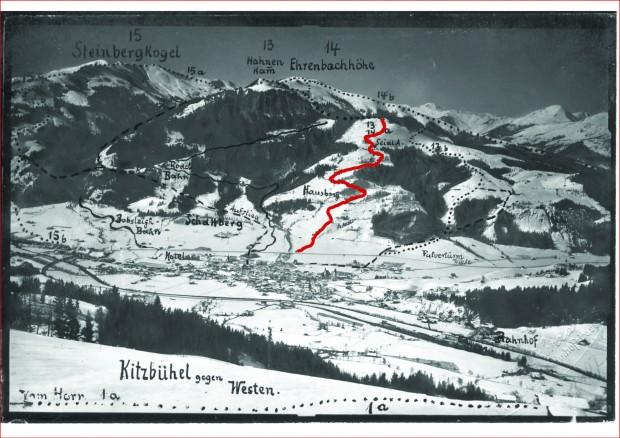 © hahnenkamm.com / Blick zurück: 1. Abfahrtslauf in Kitzbühel 1906