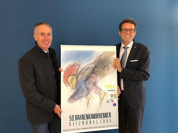 © hahnenkamm.com / Organisationskomitee-Chef und K.S.C.-Präsident Michael Huber und Gerhard Burtscher, BTV Vorstandsvorsitzender