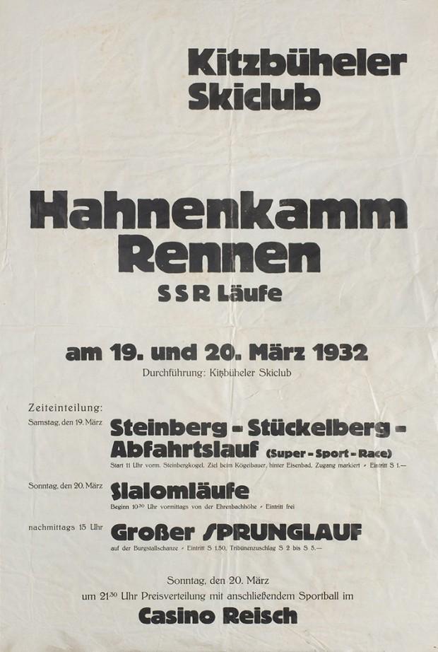 Plakat Hahnenkamm Rennen 1932