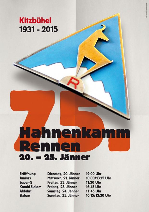 © hahnenkamm.com  / Poster für das 75. Jubiläumsrennen im Jahr 2015