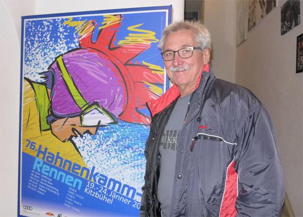 © hahnenkamm.com / Künstler Hans Kalian vor seinem Plakat