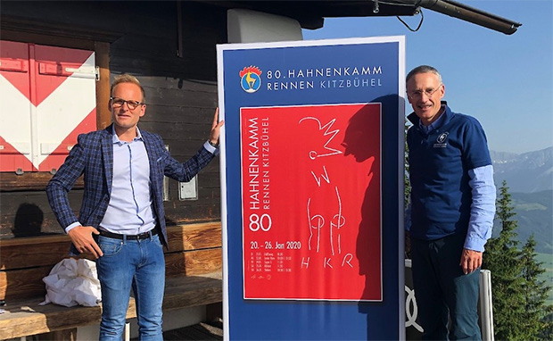 Hahnenkamm-Plakat 2020 gekürt: Tiroler Künstler Reinhold Drugowitsch gestaltete reduziertes Motiv zum runden Jubiläum. (Foto: © Hahnenkamm.com)
