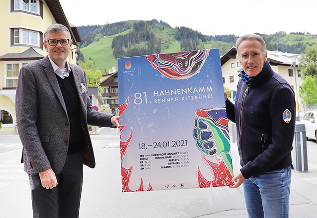Dr. Klaus Winkler, Bürgermeister der Stadt Kitzbühel und Dr. Michael Huber, KSC Präsident und HKR-Chef (rechts) (Foto: © Hahnenkamm.com)