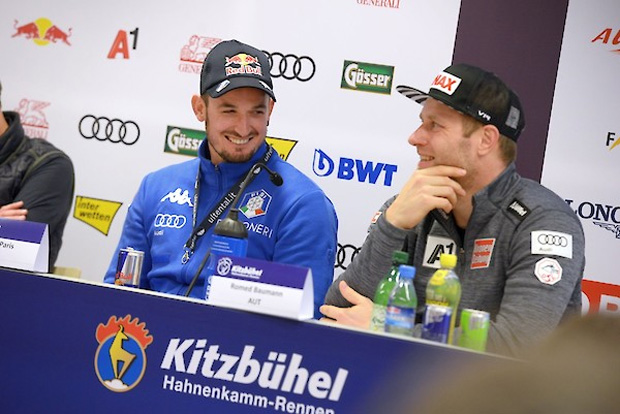 © hahnenkamm.com /  Pressekonferenz mit Romed Baumann und Dominik Paris