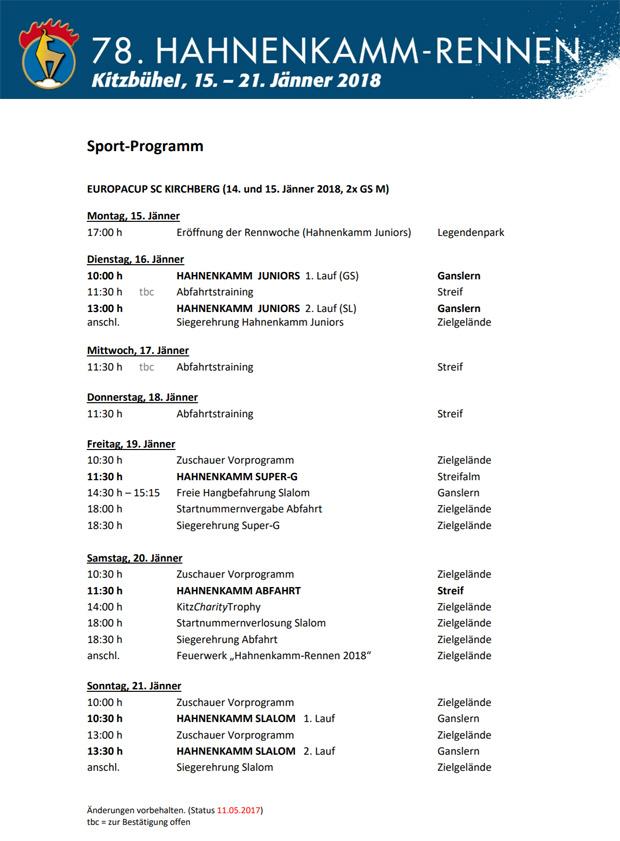 Das Programm der 78. Hahnenkamm-Rennen in Kitzbühel, 15. - 21. Januar 2018