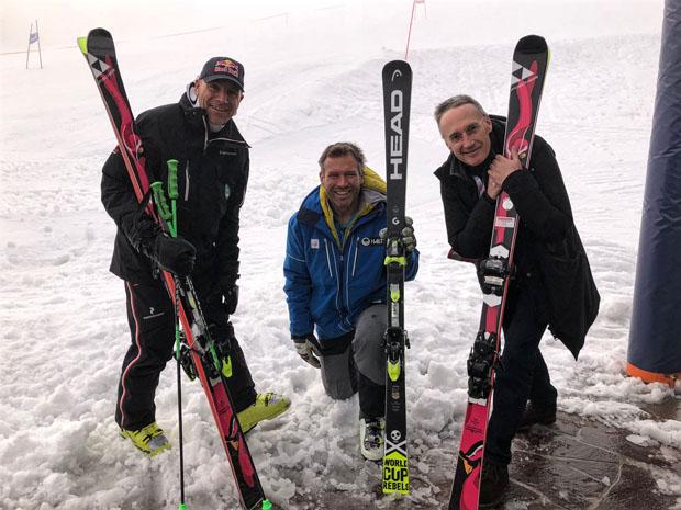 FIS bestätigt das 78. Hahnenkamm-Rennen. Rennleiter Axel Naglich, FIS Renndirektor Hannes Trinkl und OK-Chef Michael Huber (Foto: Foto KSC/HKR)