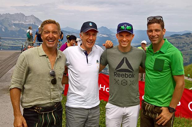 © hahnenkamm.com / Hans Knauss, KSC-Präsident Michael Huber, Henrik Kristoffersen und Benjamin Raich