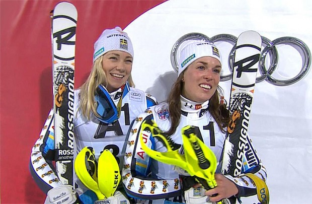 Frida Hansdotter und Maria Pietilä-Holmner aus Schweden