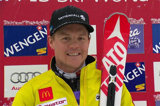 Mattias Hargin führt nach dem 1. Durchgang beim Slalom in Wengen