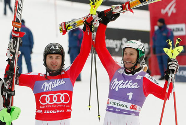 © PHOTOPRESS / Jean-Christophe Bott - Reinfried Herbst und Manfred Pranger beim Slalom in Alta Badia am 21.12.2009