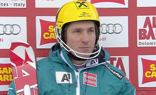 Marcel Hirscher führt nach dem 1. Durchgang beim Slalom der Herren in Alta Badia