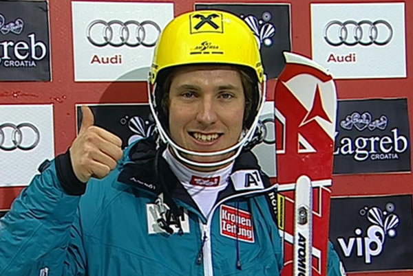 Zwei Rennen vor Saisonende liegt Marcel Hirscher im Slalomweltcup mit 35 Punkten hinter den in Führung liegenden Ivica Kostelic auf Platz 2.
