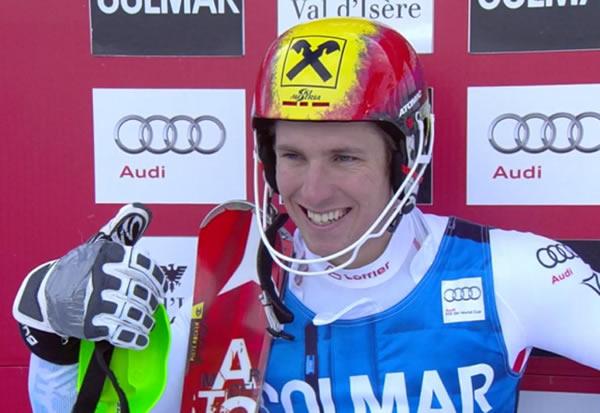 Marcl Hirscher führt beim Slalom in Val d'Isere