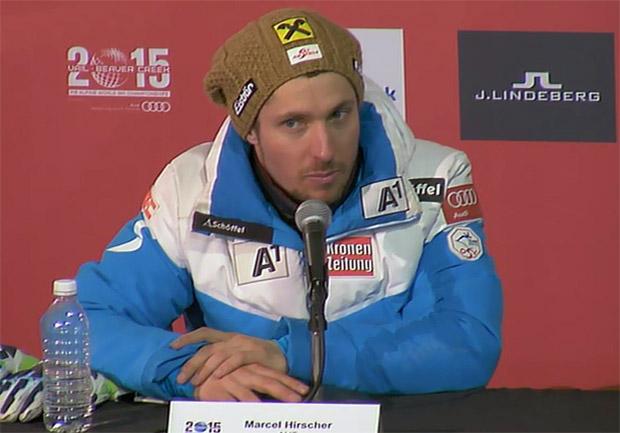 Marcel Hirscher beim Super-G am Start, Top-15 im Blickfeld