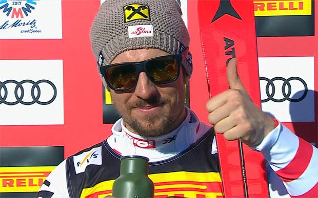Führung für Marcel Hirscher nach dem ersten WM-Slalom-Durchgang in St. Moritz