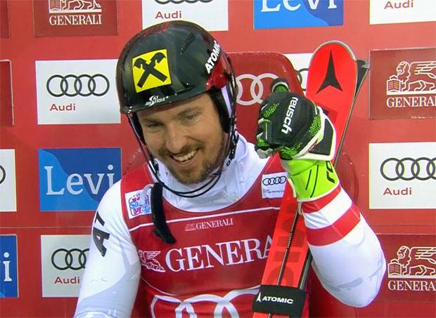 Stärker als angenommen, präsentierte sich Marcel Hirscher im ersten Durchgang seines Comeback Rennens in Levi.