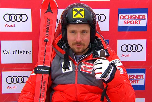 Halbzeitführung für Marcel Hirscher beim Riesenslalom von Val d'Isère