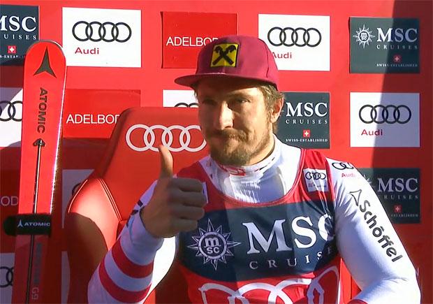 Marcel Hirscher führt nach dem 1. Durchgang beim Riesenslalom von Adelboden