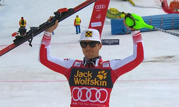 Marcel Hirscher steht in Kranjska Gora als Dritter auf dem Slalompodest