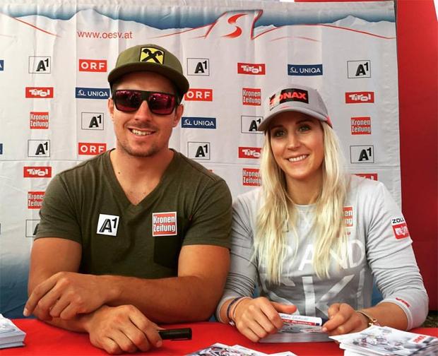 Marcel Hirscher und Eva-Maria Brem beim Tag des Sports im Wiener Prater (Foto: Austria Ski Team Ladies / Facebook)