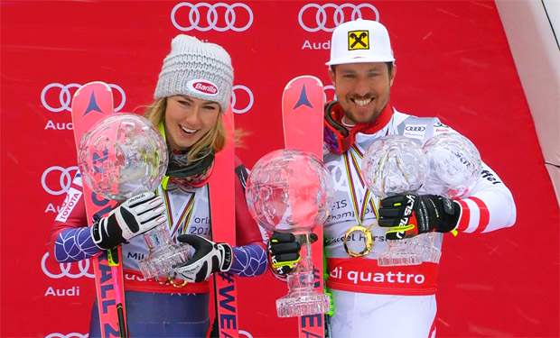 Mikaela Shiffrin und Marcel Hirscher zu Gast beim Atomic Media Day in Altenmarkt