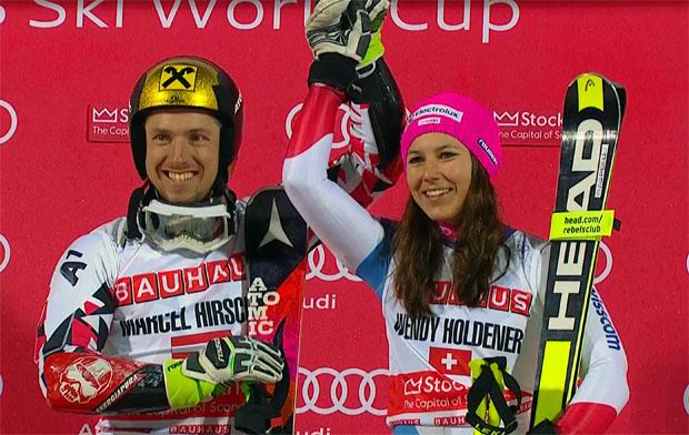 Wendy Holdener und Marcel Hirscher freuen sich über den Sieg