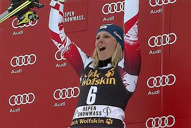 Nicole Hosp gewinnt Aspen-Slalom, Zettel Dritte