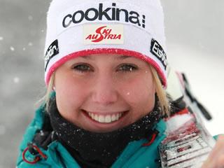 Cornelia Hütter - Platz 1 bei der EC Abfahrt in St. Moritz