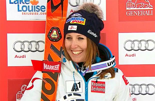 Cornelia Hütter auch am Samstag am Podium