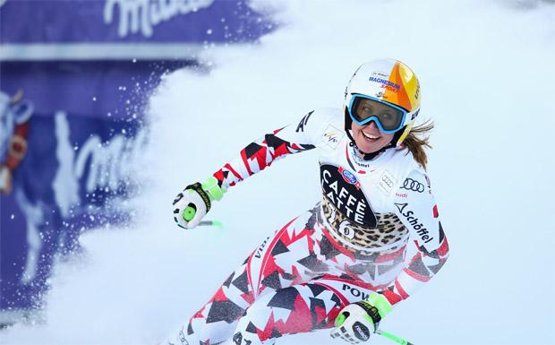 Cornelia Hütter musste sich bei der Abfahrt in La Thuile nur der Schweizerin Lara Gut geschlagen geben.