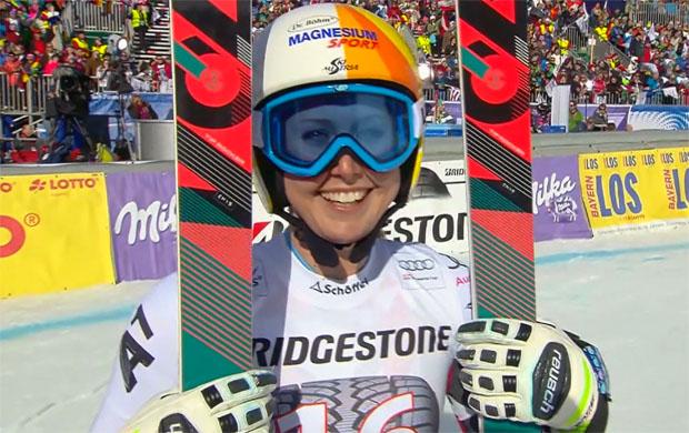 Cornelia Hütter konnte im Zielraum von Garmisch-Partenkirchen bereits wieder lachen.