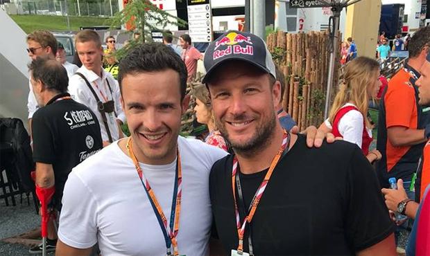 Christof Innerhofer und Aksel Lund Svindal zu Gast beim Moto-GP-Rennen in Österreich (Foto: Christof Innerhofer / Facebook)