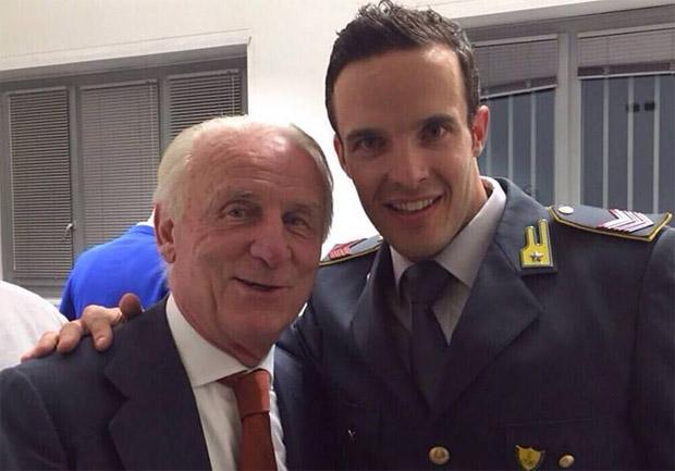 """Am Sonntag war Christof Innerhofer bei der RAI 2 Sportshow """"Domenica Sportiva"""" zu Gast und freute sich über ein Zusammentreffen mit Giovanni Trappatoni (Foto: Facebook/Christof Innerhofer)"""