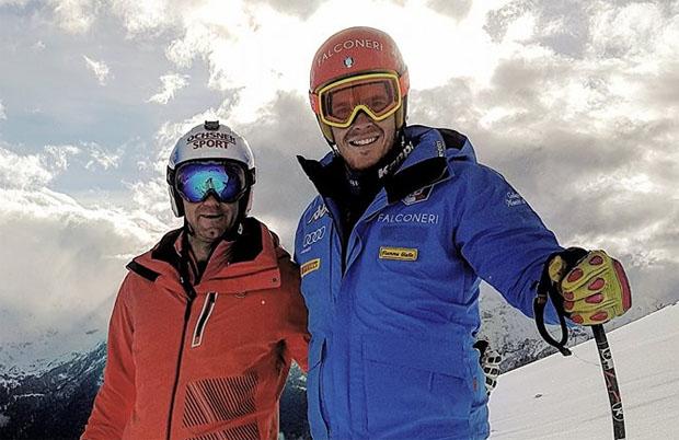 Didier Défago und Christof Innerhofer beim Skitest in Speickboden (Foto: Christof Innerhofer / Facebook)