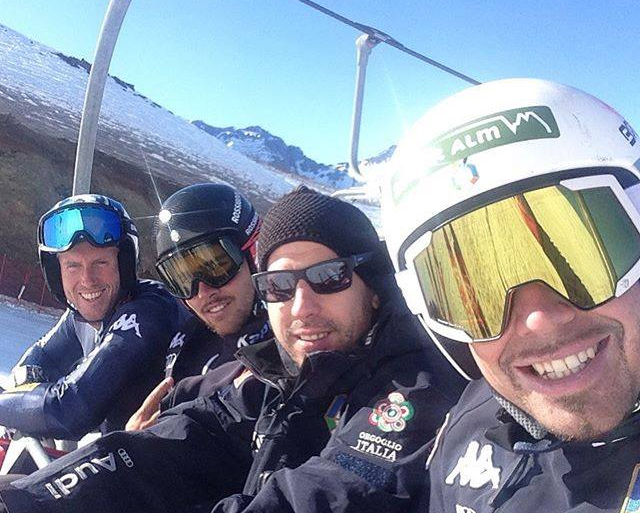 Werner Heel, Henri Battilani, Daniele Zonin, Peter Fill in Valle Nevado (Foto: Peter Fill, facebook)