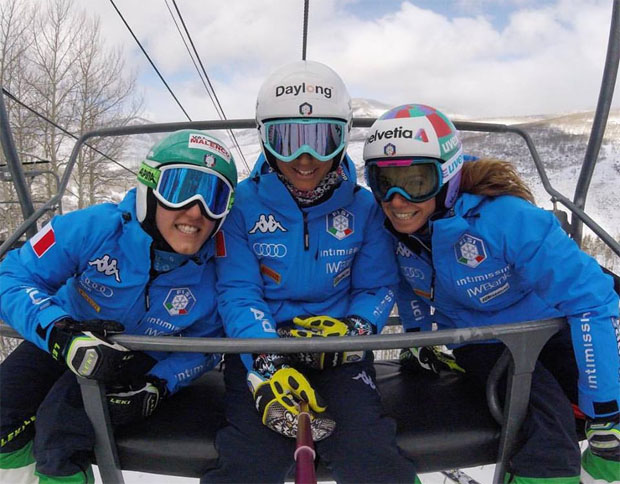 Nicole Agnelli, Irene Curtoni und Marta Bassino fühlen sich im US-Trainingslager wohl (Foto: facebook / Irene Curtoni)