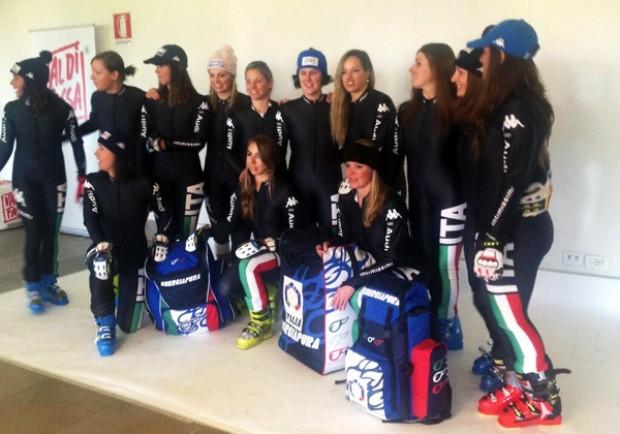 Die italienischen Skidamen bei der Einkleidung 2013/14