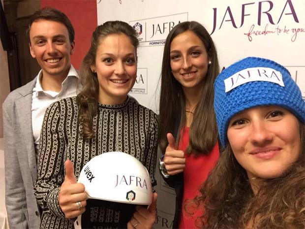 """Das """"JafraTeam"""" mit Francesco De Fabiani, Federica Sosio, Lisa Vittozzi, Sofia Belingheri (Foto Facebook / Federica Sosio)"""