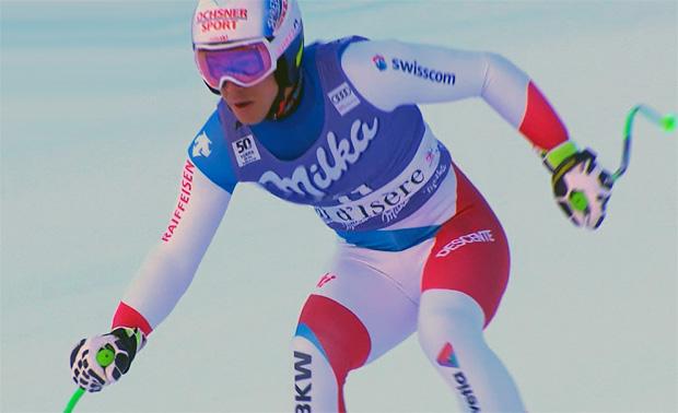 Carlo Janka freut sich über Rang 4 beim Super-G von Val d'Isère