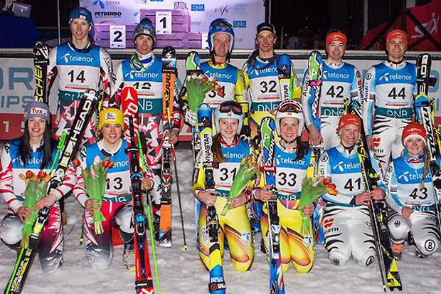 Das ÖSV-Team mit Stephanie Brunner, Dominik Raschner, Katharina Huber und Thomas Hettegger (v.l.) musste sich im Teambewerb nur Norwegen geschlagen geben. (Foto: ÖSV)