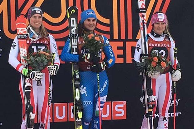 Das Siegerbild des RTL: (v.l.) Katharina Liensberger (AUT), Laura Pirovano (ITA) und Chiara Mair (AUT) | (Foto: ÖSV)