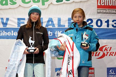 Die beiden Tagessieger Celine Öbster (Union SV Grossarl) und Lukas Gasser (Skiclub Bruck) - (Foto: K.S.C.)