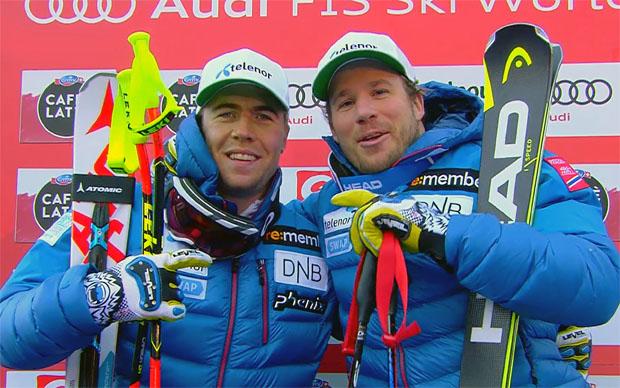 Jansrud (r.) und Kilde (l.) feiern norwegischen Doppelsieg beim Super-G in Gröden