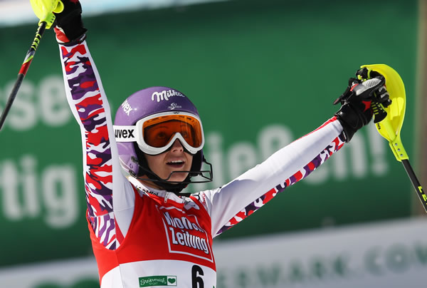 © Kraft Foods / Michaela Kirchgasser gewinnt Slalom beim Skiweltcup Finale in Schladming