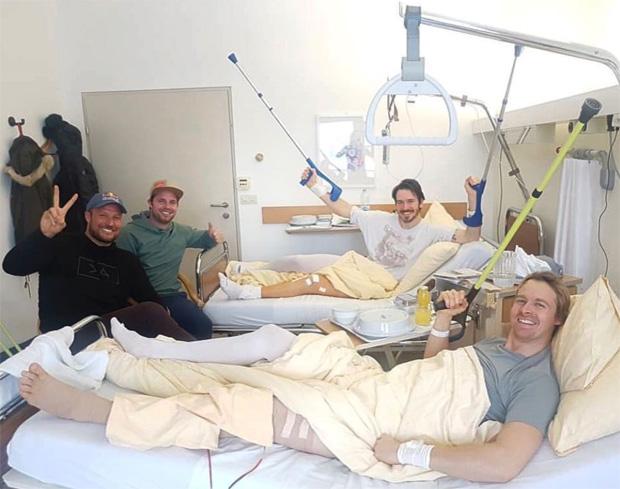 Hoher Besuch in Innsbrucker DSV-Krankenstation für Felix Neureuther und Stefan Luitz (Foto: Beat Feuz / instagram)